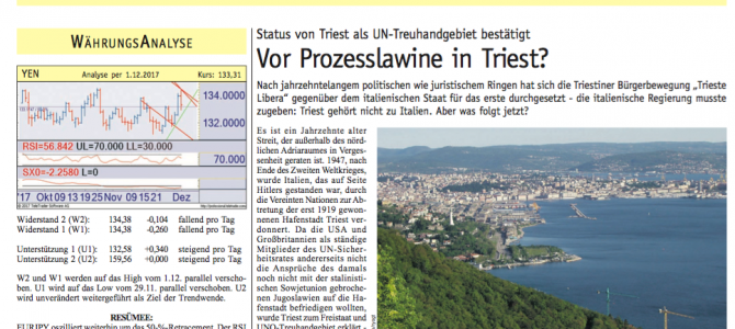 Vienna: the Börsen-Kurier about Trieste's legal action on taxation VS the Italian Government
