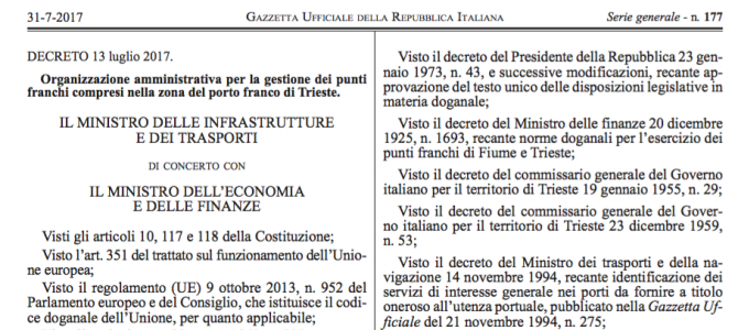 The decree about the administrative management of the international Free Port of Trieste