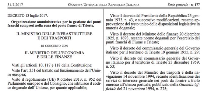 Il decreto sulla gestione amministrativa del Porto Franco internazionale di Trieste